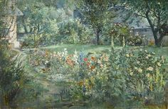Charles Cundall (1890-1971)- The Artist's Garden, at Barnyard Cottage, Houghton circa 1960. Oil on canvas, 20 x 30 in. (51 x 76 cm.)