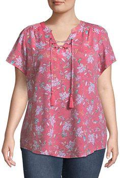 ST. JOHN'S BAY St. John's BayLace Up Flutter Sleeve - Plus Kurti Neck Designs, Blouse Designs, Scarf Dress, Casual Tops For Women, African Fashion Dresses, Short Tops, Blouse Patterns, Blouse Styles, Plus Size Dresses