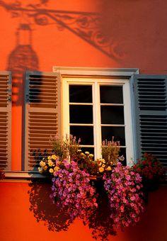 Shadows play on a beautiful window in Tübingen, Germany - Tübingen is a university town in central Baden-Württemberg.