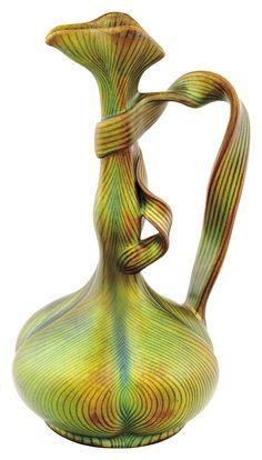 Zsolnay - High neck vase with enwinding ribbon handles, Tiffany-decor, Zsolnay, 1898-1899
