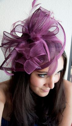 """Burgundy Wine Fascinator - """"Penny"""" Mesh Hat Fascinator with Mesh Ribbons and Burgundy Feathers. $54.00, via Etsy."""