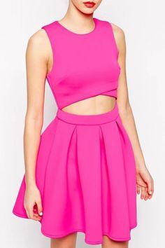 Hot Pink Cutout Waist Pleated Skater Dress - GLAMOURIZE