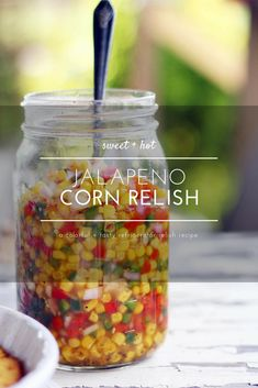 Sweet + tangy relish is one of my favorite things to make. Especially for the summer when the vegetables are fresh and full of flavor. This Sweet Hot Jalapeno Corn Relish is a perfect pop of sweet meets spicy to serve at your next gathering. Serve this co Jalapeno Relish, Jalapeno Corn, Hot Pepper Relish, Fresh Jalapeno Recipes, Hot Pepper Recipes, Corn Relish Recipes, Mexican Relish Recipe, Corn Relish Dip, Canning Recipes