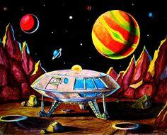 8 1/2 x 11  Jupiter 2 flying saucer  space art by wardartstudios