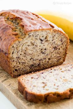 Easiest banana bread ever! No need for a mixer! Delicious and easy, classic banana bread recipe. Most popular recipe on http://SimplyRecipes.com