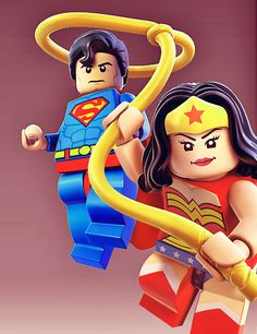 DC Justice League Superman and Wonder Woman Lego Minifigures