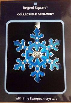 Regent Square 2015 BLUE SNOWFLAKE Collectible Ornament w/Fine European Crystal