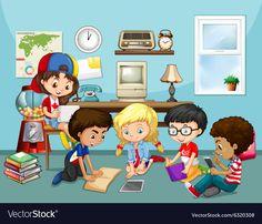 Many children working in classroom vector image on VectorStock Children Working, Flashcard, Borders For Paper, Teachers' Day, Preschool Activities, Mathematics, Adobe Illustrator, Cute Pictures, Back To School