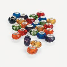 Bright Faceted Large Hole Beads - TerrysVillage.com