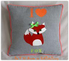 """Coussin customisé """"I love Fox"""" pour enfant"""