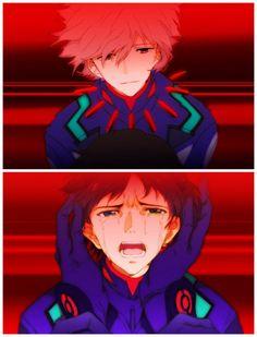 Kaworu x Shinji Neon Genesis Evangelion, Anime Manga, Anime Art, Evangelion Kaworu, Animes On, Rei Ayanami, Mecha Anime, Shounen Ai, Anime Kawaii