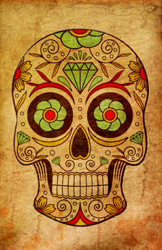 Vintage and textured Mexican Skull