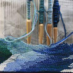 Weaving more water today. Trying to keep track of the waves!#tapestry,#tapestryweaversofinstagram #virginiaartist