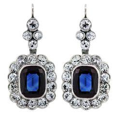 6 Carat Blue Sapphires, Diamonds, and Platinum Earrings