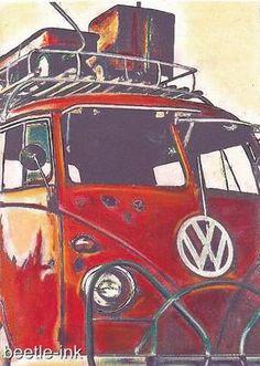 Volkswagen Original Artwork Canvas Picture VW Classic Vintage Bus Van Camper | eBay
