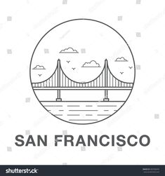 4532d5ac San Francisco Golden Gate Bridge.World famous San Francisco landmark  illustration.