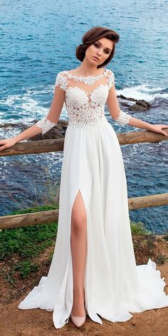 36 Vintage Inspired Wedding Dresses ❤ vintage inspired wedding dresses straight lace long sleeved with slit allegresse ❤ See more: http://www.weddingforward.com/vintage-inspired-wedding-dresses/ #wedding #bride