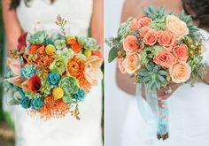 A+zöld+és+a+türkiz+is+jól+mutat+az+esküvői+csokorban.