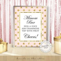 Pink and gold bridal shower signs bachelorette party decor instant bridal shower - Fill a bag with TREATS candy bar sign - DIGITAL JPG by HandsInTheAttic Gold Party Decorations, Bachelorette Party Decorations, Bridal Shower Signs, Gold Bridal Showers, Wedding Favours Sign, Wedding Signs, Wedding Reception, Reception Signs, Pink Und Gold