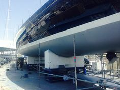 Techno Craft SL  taking down the #yachtcontainment tenting that has been covering the 30m #syBlueDiamond whilst she had her full #refit inside and out. #superyacht #luxury #marinescaffold #wevegotitcovered www.technocraftsl.com