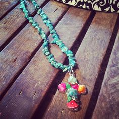 Coral Beaded turquoise necklace with pink orange by RainingRustic, $16.50
