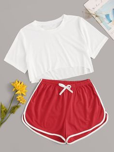 Shop Crop Top With Contrast Binding Shorts PJ Set at ROMWE, discover more fashion styles online. Cute Lazy Outfits, Teenage Outfits, Cute Swag Outfits, Sporty Outfits, Outfits For Teens, Pretty Outfits, Stylish Outfits, Cute Pajama Sets, Cute Pajamas
