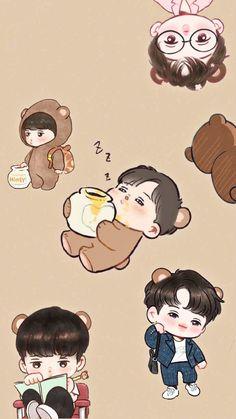 Chanbaek Fanart, Kpop Fanart, Kaisoo, Exo Cartoon, Exo Stickers, 5 Years With Exo, Nct Kun, Exo Fan Art, Exo Lockscreen