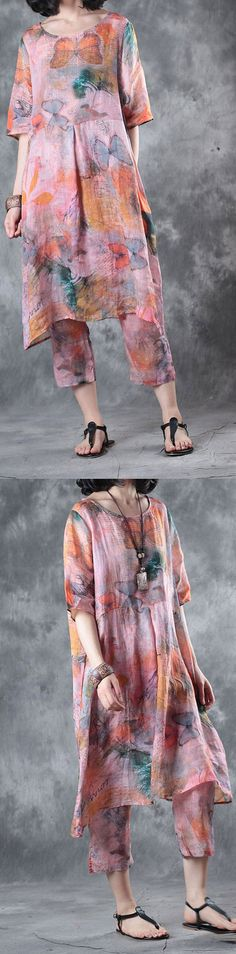 summer red floral  silk linen two pieces Half sleeve  t shirt  and casual crop pants3