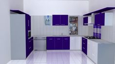 Kitchen: Contemporary Kitchen Vinyl Floor Tiles Designs Gold Paint Color And Cabinets Glass Round Dining Table And Chairs Gray Backsplash Color Stainless Steel Kitchen Hood Design from How to Choose Kitchen Paint Colors Finish Kitchen Cabinets, Kitchen In, Purple Kitchen, Kitchen Colors, Kitchen Ideas, Kitchen Planning, Kitchen Hood Design, Kitchen Cupboard Designs, Chennai