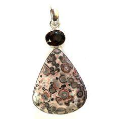 Jasper and Brown Cut Gemstone Pendant Oxidized Silver 925 Silver Overlay Pendant #Handmade