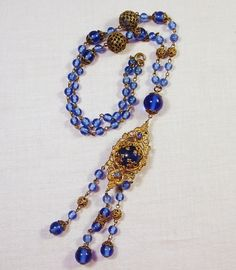 Vintage 1920's Necklace Blue Czech Glass by FuzzieFrecklesandCo