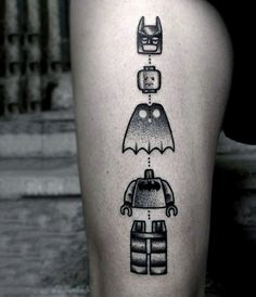 Creative Lego Themed Batman Tattoos For Guys On Thigh