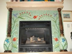 mosaic fireplace-we have an old fireplace so I would love to do it up! Mosaic Tile Fireplace, Fireplace Tile Surround, Custom Fireplace, Mosaic Backsplash, Fireplace Hearth, Glass Mosaic Tiles, Fireplace Surrounds, Fireplace Ideas, Fireplace Glass