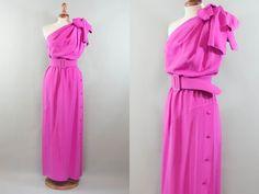 balenciaga vintage dress / 1980s pink dress / red carpet vintage dress / rare BALENCIAGA  maxi dress / size S by MyLoftVintage on Etsy