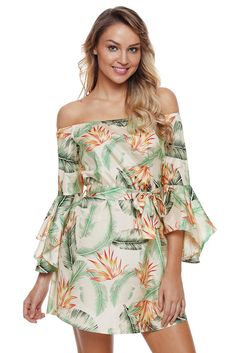 1e2dba6448a Tropical Leaf and Flower Print Off Shoulder Dress
