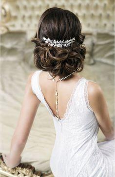 VERA Grecian Silver Leaf Bridal Hair Comb - Laurel Goddess headpiece by TopGracia #topgraciawedding #bridalhairaccessories #weddingheadband