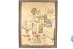Lithography Retro Little Girl and her Dog by Dupasseaupresent