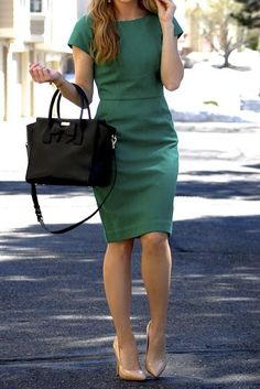 Work dress, maybe a little on the boring side, but with a scarf or statement necklace.