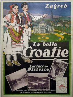 Zagreb, Croatia vintage travel poster