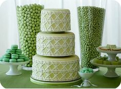 A green-themed dessert table by Amy Atlas Events