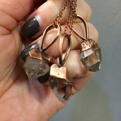 Herkimer Diamond Necklace / Raw Crystal Jewelry / Boho Necklace Gypsy Jewelry / Healing Crystals Natural Stone / Electroform Hippie Wiccan