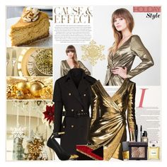 """""""Holiday Style: Cause & Effect"""" by beautifully-eclectic ❤ liked on Polyvore featuring moda, Envi, Burberry, Yves Saint Laurent, Max Factor, NARS Cosmetics, Clarins, Lancôme, Chanel e Edie Parker"""