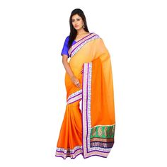 Designer Sari Wedding Orange Jacquard Chiffon Women Saree with Unstitched Blouse #Milonee #NewDesignerSaree