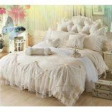 Sisbay Fabulous Royal Princess Beige Wedding Bedding,Luxury Jacquard Embroidery Lace Duvet Cover,Romantic Girls Exquisite Bed Skirt King,7pcs