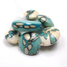 Handmade lampwork bead set    Colouring inside the by feyglass, $33.00