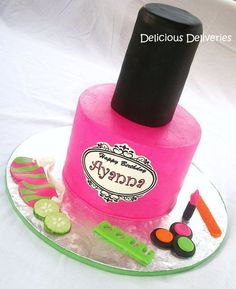 Nail Polish Spa Cake - by DeliciousDeliveries @ CakesDecor.com - cake decorating website