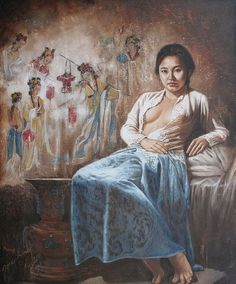 Ni Gusti Agung Galuh Pagi Ubud Bali art t Classic Paintings, Indian Paintings, Indonesian Art, Beauty Art, Ancient Art, Figure Painting, Indian Art, Erotic Art, Female Art