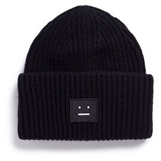Acne Studios 'Pansy' emoticon patch wool beanie (€100) ❤ liked on Polyvore featuring accessories, hats, headwear, beanie, black, wool hat, beanie hat, rim hat, beanie caps and woolen hat