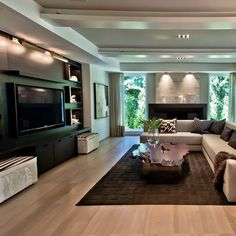 Best Home Entertainment Center Ideas 09 Home Living Room, Living Room Designs, Living Room Decor, Apartment Living, Living Area, Home Entertainment, Entertainment Centers, Sala Grande, Decoration Inspiration