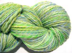 Handspun yarn Spring worsted weight 2 ply by SpinningWheelStudio, $39.00